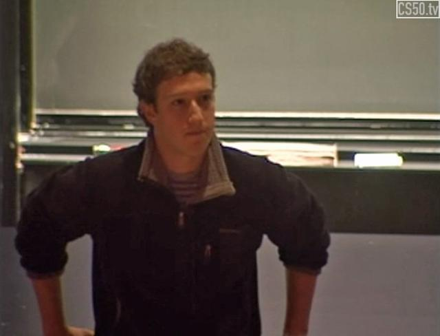 zuckerberg in 2005 Harvard University lecture audience few