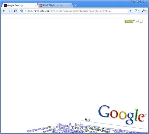 体验Chrome重力效果:Google Gravity(图)