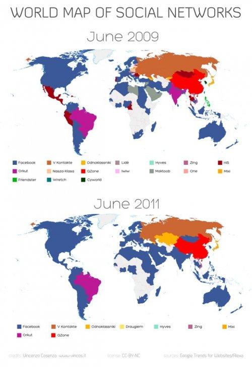全球社交网站势力地图:Facebook压倒性优势