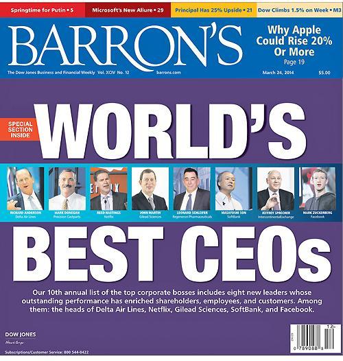 美国《巴伦周刊》评出全球三十位最佳CEO