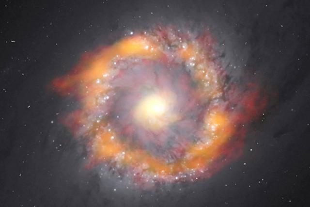 这个螺旋星系内有超大黑洞 相当1.4亿个太阳