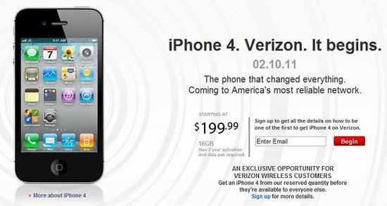 Verizon版iPhone 4下月10日推出 售200美元