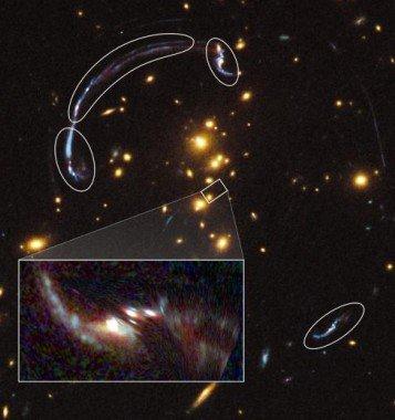 """哈勃发现神奇""""放大镜星系"""" 受到引力场弯曲"""