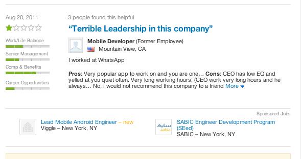 WhatsApp前员工指CEO情商低 频频向员工吼叫