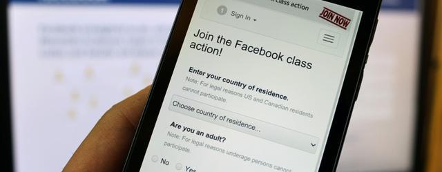 Facebook在欧洲遭2.5万用户集体诉讼