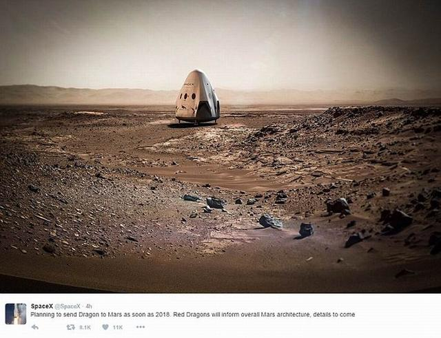 SpaceX公司宣称2018年实现火星登陆计划