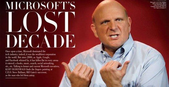 """《名利场》:微软""""失落的十年"""""""