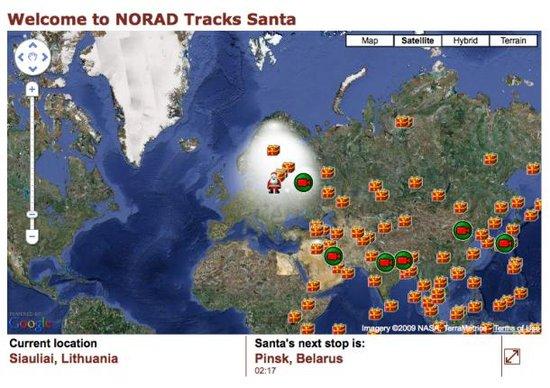北美防空联合司令部再次携谷歌追踪圣诞老人