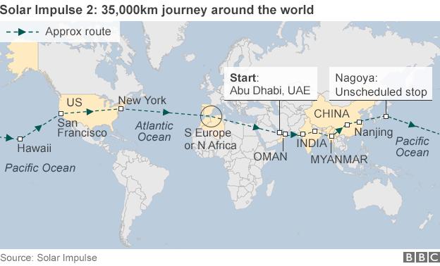 """全球最大太阳能飞机""""阳光动力""""2号完成环球之旅"""