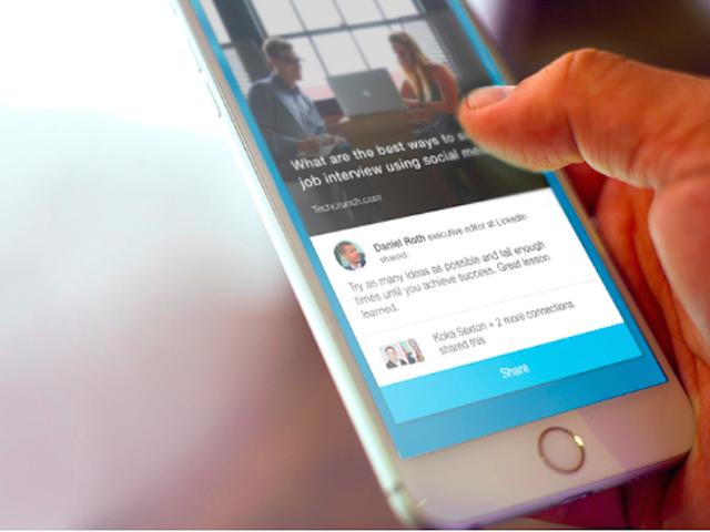 LinkedIn发布独立APP:让员工帮企业传播信息