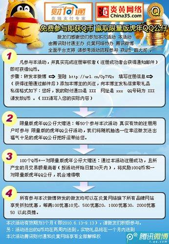 腾讯微博兴起抽奖活动:免费参与获Q币赢大奖