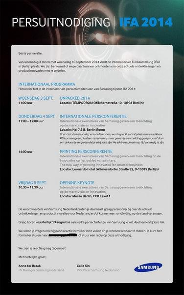 三星Note 4确认9月3日发布 邀请函曝光