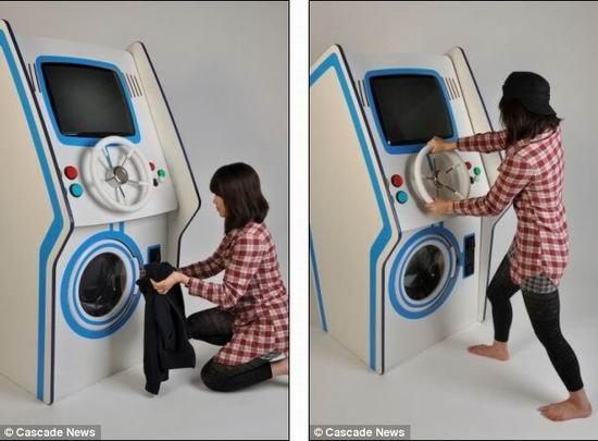 华裔学生设计娱乐洗衣机 打游戏洗衣两不误