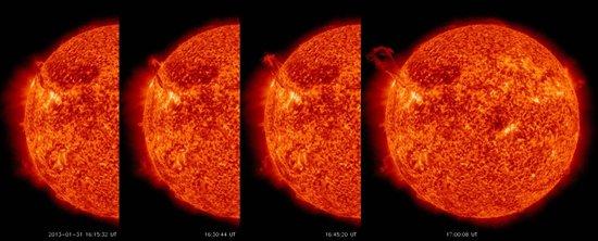 美国宇航局卫星记录太阳表面上演神龙摆尾