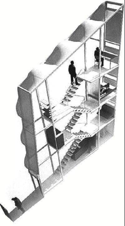 四层公寓建在两座大楼之间的缝隙中,其宽度还不到60英寸