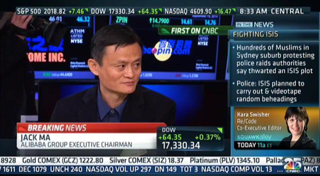 CNBC专访马云:希望未来15年超越沃尔玛