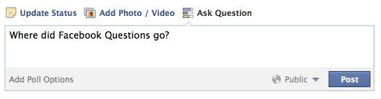 Facebook问答服务Questions悄然消失