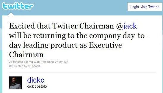 Twitter CEO迪克·科斯特罗微博(腾讯科技配图)