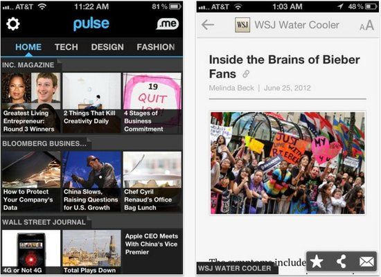 新闻阅读器Pulse借出售华尔街日报订阅盈利