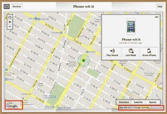 苹果iCloud.com仍使用谷歌地图追踪iOS设备