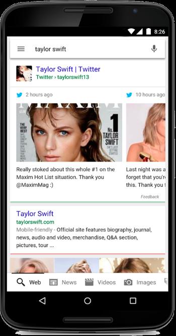 谷歌搜索能显示推特推文