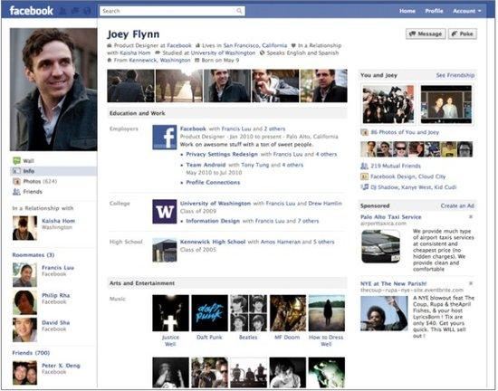 Facebook新版个人资料页面详解