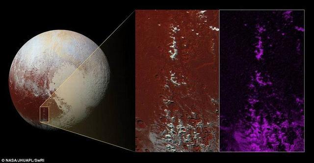 """最新图像显示冥王星山脉顶部存在着""""积雪"""""""