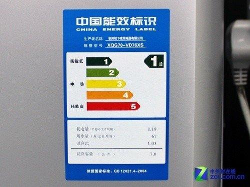 松下xqg70-vd76xs滚筒洗衣机能效标识