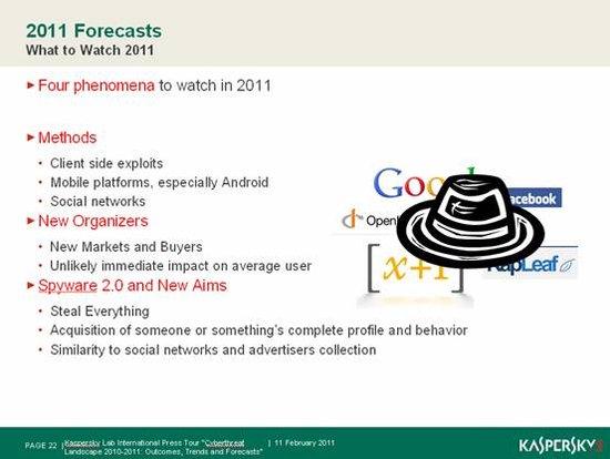 卡巴斯基发布2011杀毒预测
