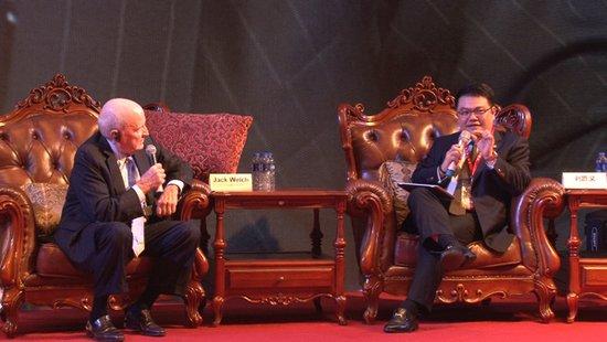 腾讯集团高级执行副总裁刘胜义与通用电气前任主席和CEO杰克·韦尔奇对话现场
