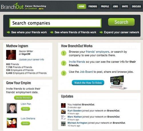BranchOut:在Facebook上建一个LinkedIn(图)