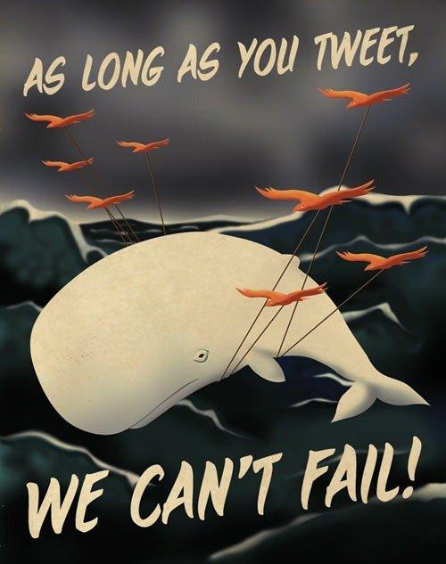 """twitter 的海报突出鸟类题材,第一张是调侃小鸟和大鲸鱼的,""""我们不图片"""