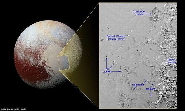 """最新图像显示冥王星表面存在""""冰山"""""""