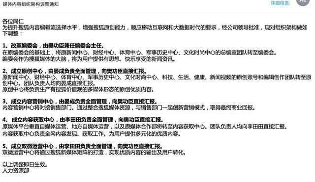 搜狐调整架构:成立原创中心和内容获取中心