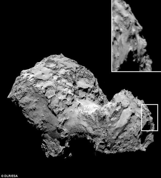 """欧洲探测器拍摄到彗星上的""""人脸""""轮廓"""