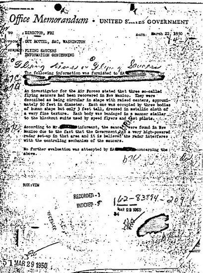 美FBI尘封备忘录证实外星人曾着陆罗斯维尔镇