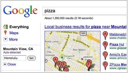 谷歌修改搜索页面:突出基于位置搜索结果