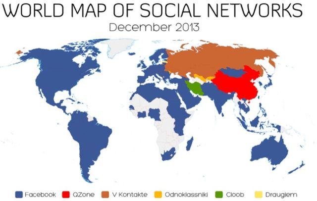 全球社交网站分布   Facebook占主导地位