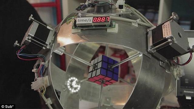 德国工程师研制机器人仅0.887秒解开魔方