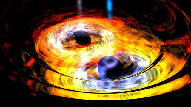 两颗黑洞相互盘旋发出引力波示意图