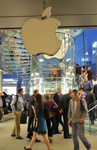 香港苹果店熄灭标志灯箱 苹果迷祭乔布斯(图)