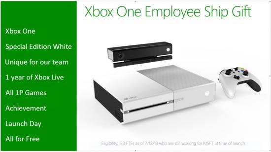 传微软将向部分员工赠送白色Xbox One游戏机