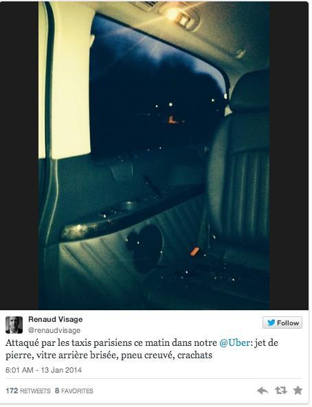 Uber在巴黎遭遇暴力抵制 出租车司机拦路打砸