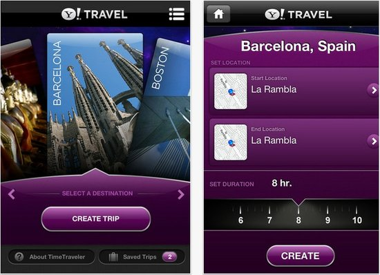 雅虎推出iPhone版旅游应用TimeTraveler