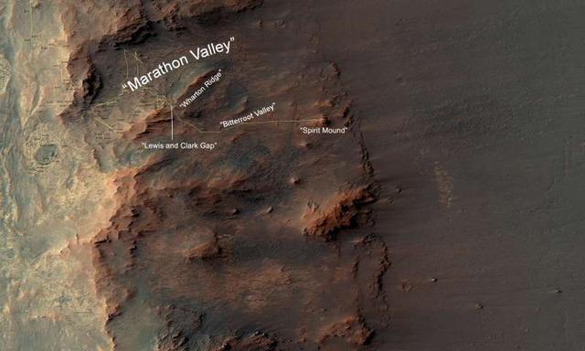 机遇号火星车将进入奋进陨石坑山谷调查