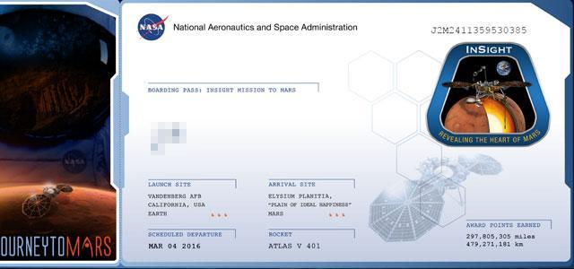 NASA发福利:让你名字与洞察号一起上火星