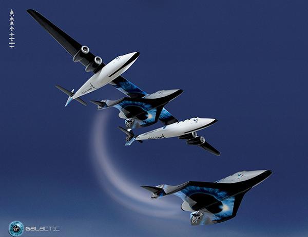 """""""宇宙飞船2号""""(下)与运载飞机分离时的效果图。 东方IC 资料"""