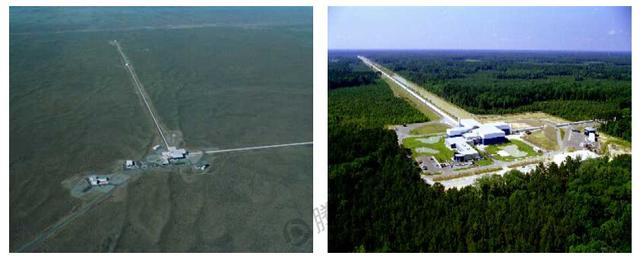 两台孪生引力波探测器分别在华盛顿州的汉福德(左)和路易斯安那州的列文斯顿,彼此相距3000公里