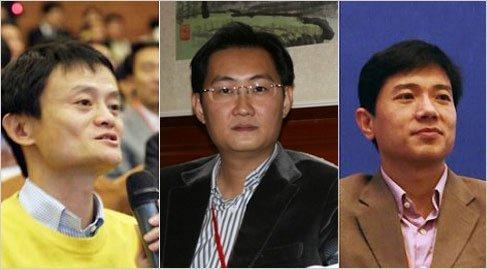 左起:阿里巴巴董事局主席马云、腾讯董事会主席兼CEO马化腾、百度CEO李彦宏(腾讯科技制图)