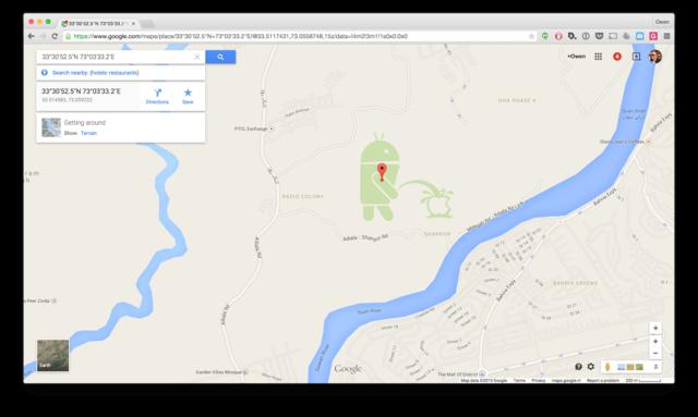 谷歌地图上出现安卓机器人朝苹果Logo小便(图)